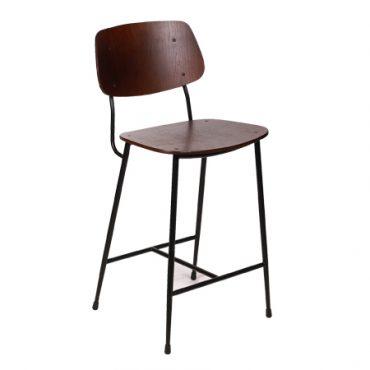 כסא בר מתכת בשילוב עץ - בר מורגן רגל שחורה