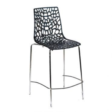 כסא בר פלסטיק רגל מתכת - פלטינה