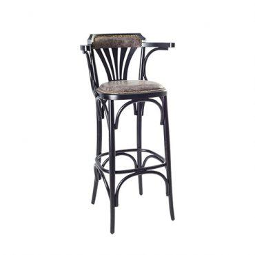 כסא בר עץ - דגם גל ידיות