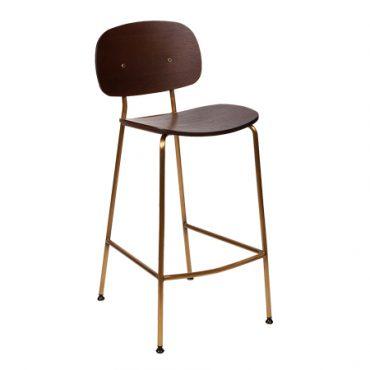 כסא בר מתכת בשילוב עץ - בר טוי