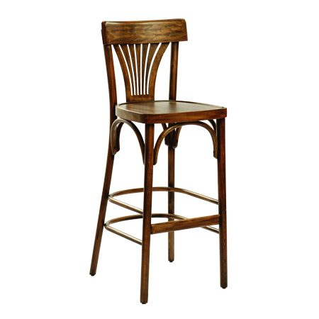 כסא בר עץ - דגם מניפה פטינה