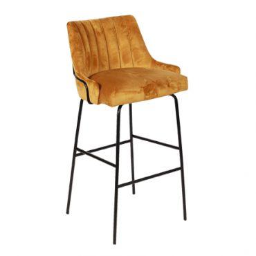 כסא בר מתכת מרופד - בר לובר