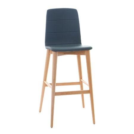 כסא בר עץ מרופד ניסבו רגל 01