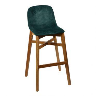 כסא בר עץ מרופד - מקאו רגל 02