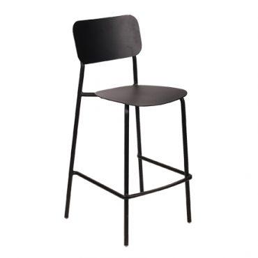 כסא בר מתכת בשילוב עץ - בר דיזל שחור