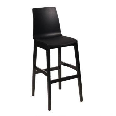 כסא בר עץ בשילוב פלסטיק