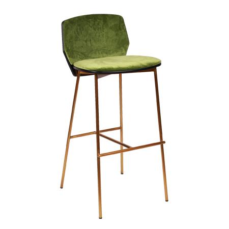 כסא בר מתכת מרופד - בר פיקסל רגל זהב