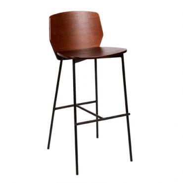 כסא בר מתכת בשילוב עץ - בר פיקסל רגל שחורה